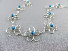 Wire Work Flower Necklace Handmade with Sterling Silver - Daisy Wire Jewelry on Etsy, $52.50 CAD *Designs, Photo's & Intellectual Property are © copyright Wire Expressions™. ALL RIGHTS RESERVED.