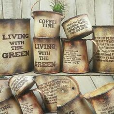 Tin Can Crafts, Diy And Crafts, Plastic Coffee Containers, Recycled Jars, Plant Crafts, Diy Cans, Art N Craft, Succulent Pots, Furniture Restoration