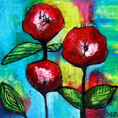 3 Poppies Square format Lush Acrylic by SweetRepeatsStudio on Etsy, $250.00