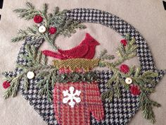 """Glad Tidings"" Basket 3 close up from Pretty Penny Precuts. By Mary Thom Penny Rug Patterns, Wool Applique Patterns, Hand Applique, Felt Applique, Applique Quilts, Penny Rugs, Felted Wool Crafts, Felt Crafts, Wooly Bully"
