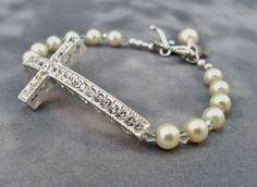 Sideways Cross Bracelet, Glass Pearl Bracelet, Crystal Bracelet, Ladies Bracelet, Fashion Jewelry via Etsy