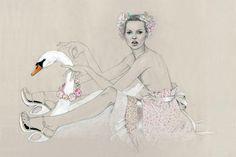 Kate and Splendor the swan, Louis Vuitton by Cédric Rivrain