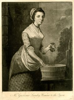 Mrs Grosvenor Laundry Woman to the Queen. Portrait, three-quarter length directed to right, wearing simple clothes, a frilled cap and a ribbon around her neck, smiling towards the viewer, standing in front of a wooden tub on a table just outside a building, scooping the water with right hand, wringing out a small dark piece of cloth which she holds up in left hand. 1750-1800. Anonymous.