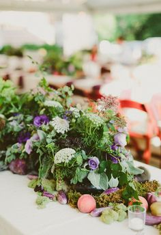 Eco-friendly centerpieces, organic, purple florals // Katch Silva