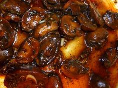 Balsamic Glazed Mushrooms served over beef tenderloins, with grilled steaks, or alone as a side dish