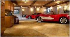 """So I probably won't have a garage this nice, but I love the idea of blurring the line between garage and house. No """"i'm in the cold spartan garage, go thru a door and now i'm home"""" nonsense. Garage Shop, Garage House, Garage Gate, Porte Cochere, Garages, Garage Pictures, Ultimate Garage, Dream Car Garage, Car Barn"""