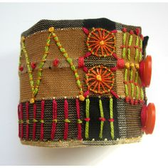 African Influenced Hand Embroidered Cuff by MadrigalEmbroidery
