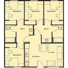 Park point syracuse university student housing floor plans bedroom house plans bedroom house and house plans on pinterestsmall bedroom house plans free home future malvernweather Images