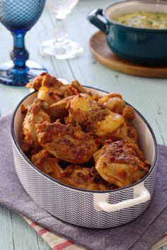 Cinco Quartos de Laranja: Coelho frito com massa de pimentão Granola, Portuguese Recipes, Portuguese Food, Cauliflower, Chicken Recipes, Curry, Cooking Recipes, Vegetables, Eat