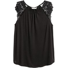 Jersey Top with Lace $9.99 (€8,38) via Polyvore featuring tops, lacy jersey, h&m tops, lace tops, lace jersey top and lacy tops