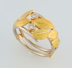 Diamond and Leaves Ring   R-24 Design Ben Dyer