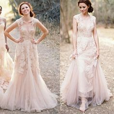 Blush Pink Reem Acra Aline Sleeveless Sweetheart Lace Applique Sheer Tulle Open Back Sweep Train Wedding Dress Bridal Formal Gowns Online with $193.72/Piece on Maya21's Store | DHgate.com