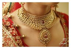 Antique Look Gold Choker Necklace with Red Stones