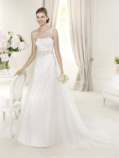 One-shoulder Beaded and Appliqued Small Train Tulle Wedding Dress WD1600 www.tidedresses.co.uk $309.0000