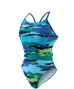 Nike painted camo cut out tank swim suit in mega blue