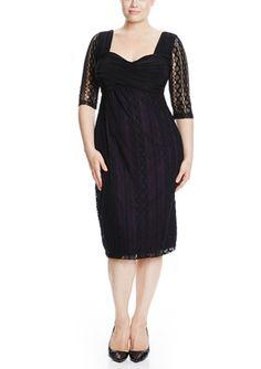 On ideel: KIYONNA Plus Three-Quarter Sleeve Burlesque Lace Dress