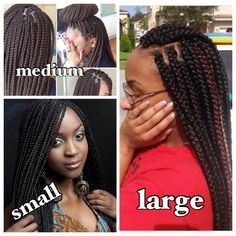 Different sizes of box braids