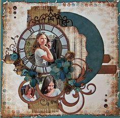 Circles and clock scrapbook page
