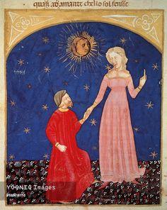 Beatrice leading Dante, Paradise scene from the Divine Comedy, by Dante Alighieri (1265-1321), Venetian miniature, 14th century.