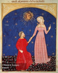 Beatrice leading Dante, Paradise scene from the Divine Comedy, by Dante Alighieri (1265-1321), Venetian miniature, 14th century.
