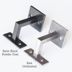 Our Minimal Handrail Bracket - 1/2 Solid Steel Square Bar Bracket piece of 1/2 x 1/2 solid steel square bar. Finish is powder coated satin black or unpainted raw steel. Stainless screws are provided.  The brackets are easily attached to a wood rail. Standard rail height is between 34 and 36 from the floor. For your standard code for hanging hand rails, please check with your local code office.  Shipped UPS ground which is 3 to 5 business days.