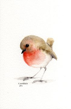 Little Red Robin original watercolour by wildsunart on Etsy