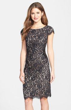 Free shipping and returns on Eliza J Beaded Lace Sheath Dress at Nordstrom.com. A beaded appliqué at one side anchors the flattering pleats swept across a floral-lace cocktail dress. Scalloped eyelash fringe flourishes this ladylike look.