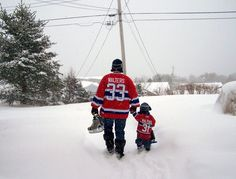 Une marche dans la neige, soumis par Todd Walters / A walk in the snow, submitted by Todd Walters Father And Son, Hockey, Snow, Future, Holiday, Pictures, Fictional Characters, Skating, Hunting