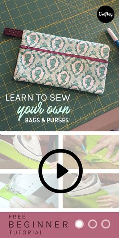 "Take this free mini-class and learn how to make two cute bags with Kristin Link of ""Sew,Mama,Sew""! https://www.craftsy.com/sewing/classes/bag-making-basics-reversible-tote-zipper-pouch/35612?cr_linkid=Pinterest_Sew_OP_BLOG_SewingBags&cr_maid=93756&regMessageId=10&cr_source=Pinterest&cr_medium=Social Engagement"