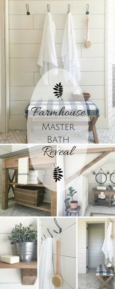 This farmhouse master bathroom makeover is so great! Check out that handmade vanity! Diy Home, Home Decor, Country Farmhouse Decor, Farmhouse Style, Farmhouse Interior, Farmhouse Furniture, Modern Farmhouse, Diy Bathroom Remodel, Bathroom Makeovers