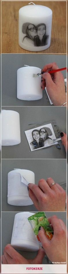 Fotokerze - bring souvenirs to light up. With a DIY photo candle appor . - Fotokerze – bring souvenirs to light up. With a DIY photo candle brings … – Basteln – # - Photo Candles, Diy Candles, Scented Candles, Ideas Candles, Candle Wax, Diy Photo, Fun Crafts, Diy And Crafts, Decor Crafts