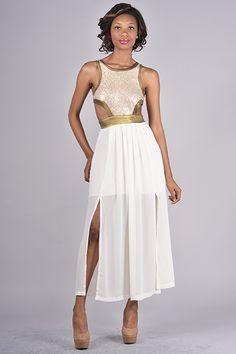Sequin Metallic Cheer Cut out Dress