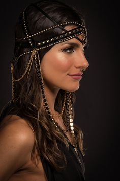 This black and gold studded headdress is made up of strappy faux leather/faux suede trim. Fits snug to the head. Adjusts in size slightly with Gaudi, Egyptian Women, Gold Chains For Men, Black Gold Jewelry, Royal Dresses, Princess Outfits, Head Accessories, Dress Picture, Hair Jewelry