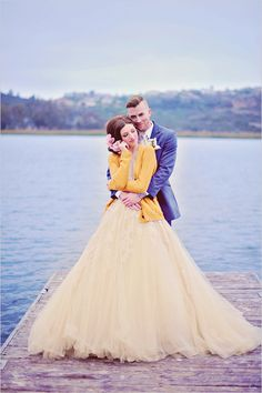 Navy & yellow, unconventional wedding dress, lakeside