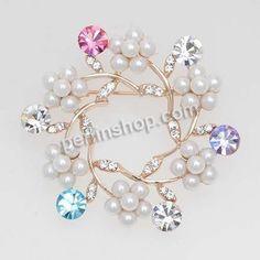 Kristall Brosche, Zinklegierung, mit Kristall & ABS Kunststoff, Blume