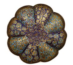 18th Century India Kashmir Gilded Bronze Enamel Plate It is 1 inch (2.5 cm) tall by 6.25 inches (16 cm) wide.