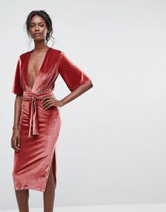 Discover the latest dresses with ASOS. From party, midi, long sleeved and maxi dresses to going out dresses. Shop from thousands of dresses with ASOS. Day Dresses, Dress Outfits, Evening Dresses, Wrap Over Dress, Vestidos Color Rosa, Deep V Dress, Moda Boho, Velvet Fashion, Womens Cocktail Dresses