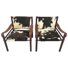 """Pair of Arne Norell """"Sirocco"""" Safari Chairs in Cowhide  1"""