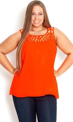 City Chic - CROSS HATCH NECK TOP - Women's plus size fashion