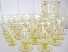 Vintage Sunshine Yellow Drepression Glass Pitcher Glasses Set Block Optic