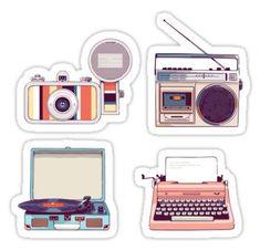 """Go Analog Retro Sticker Set Hipster Style"" Stickers by sundrystudio Journal Stickers, Scrapbook Stickers, Laptop Stickers, Planner Stickers, Printable Stickers, Cute Stickers, Free Printable, Etiquette Vintage, Tumblr Stickers"