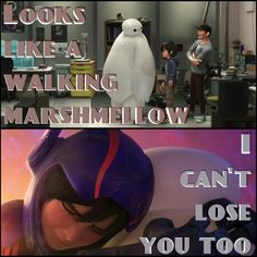 Something I love about Big Hero 6 is Hiro's character development. He changes in so many ways from the beginning of the movie to the end, but this is one of my favorite changes. Baymax goes from just being a 'robot nurse', analyzed and called 'this thing', to a best friend, for which Hiro mourns when he must leave him behind.