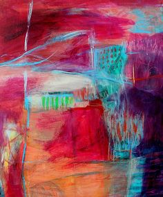 Peinture abstraite à dominante rose et violet #painting #abstract #pink