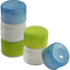 """humangear GoTubbs Small - Set of 6  $13.99 Each Tubb holds up to .4 oz 1"""" H X 1 3/8"""" W FDA food-safe 100% BPA and PC free Open and close with one hand Transparent lid for easy content viewing Recessed, textured labeling area"""