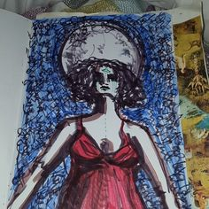 Art jornal page for thw full moon. Although i think to calm for the storm. She stands in her truth. Full moon in Virgo #fullmoonart #fullmooninvirgo #artjournal #eithnesweeneyart #witchesart