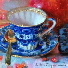 DPW Fine Art Friendly Auctions - Teacup and Fruits by Elena Katsyura