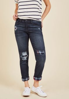 Cabin to Manhattan Jeans in Dark Wash | Mod Retro Vintage Pants | ModCloth.com  Whether escaping to the urban jungle or the actual forest, these dark wash jeans are the first pair you should pack! Navy blue plaid patches make an appearance within each distressed detail and at this pair's rolled cuffs, calling attention to the casual style you faithfully rock on every adventure.