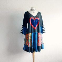 Black Bohemian Dress 2X 3X Plus Size by BrokenGhostClothing