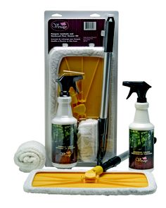 Everything you need to clean your Vintage hardwood floor.   1 litre bottle of cleaner, Mop head and handle & washable terry cloth cover.