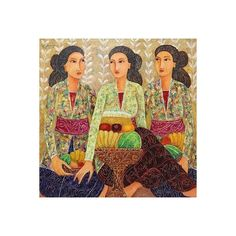 NOVICA Original Balinese Painting of Three Women Making Offerings ($440) ❤ liked on Polyvore featuring home, home decor, wall art, art, painting, expressionist paintings, balinese home decor, portrait painting, novica paintings and balinese painting